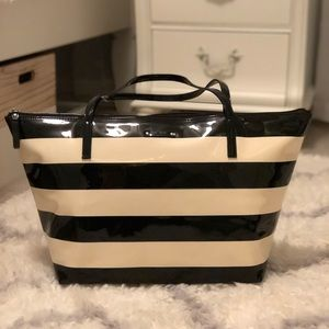 Authentic Kate Spade Black and White Striped Tote